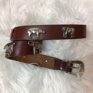 Honest Brighton Animals Medallions Leather Belt 34